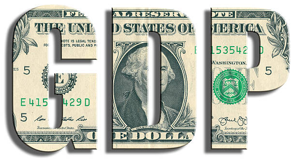 gdp - gross domestic product. us dollar texture. - bruto binnenlands product stockfoto's en -beelden