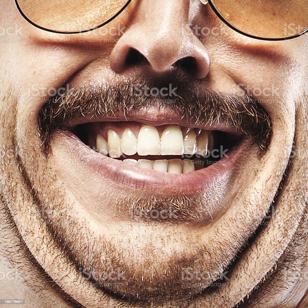 Gross Mustache Face Closeup stock photo