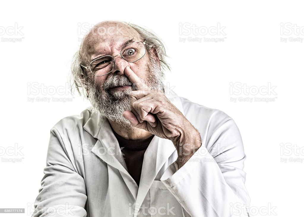 Gross Tangled Hair Medical Professional Picking Nose stock photo