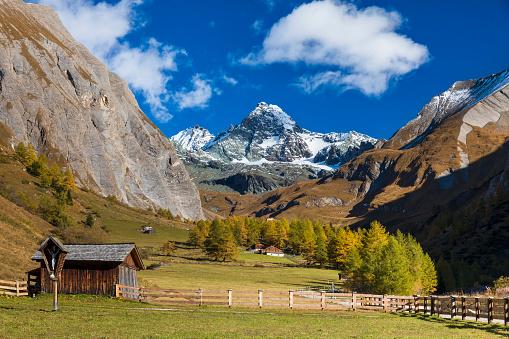 Grossglockner at Autumn in beautiful mountain valley Ködnitz