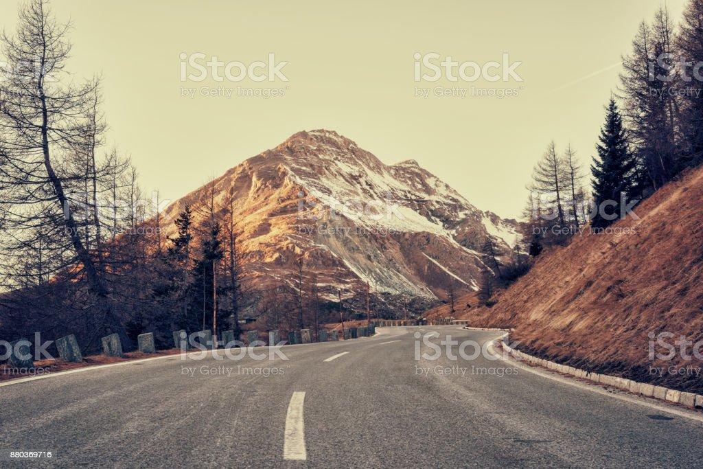 Grossglockner, famous alpine road in Alps, Austria stock photo