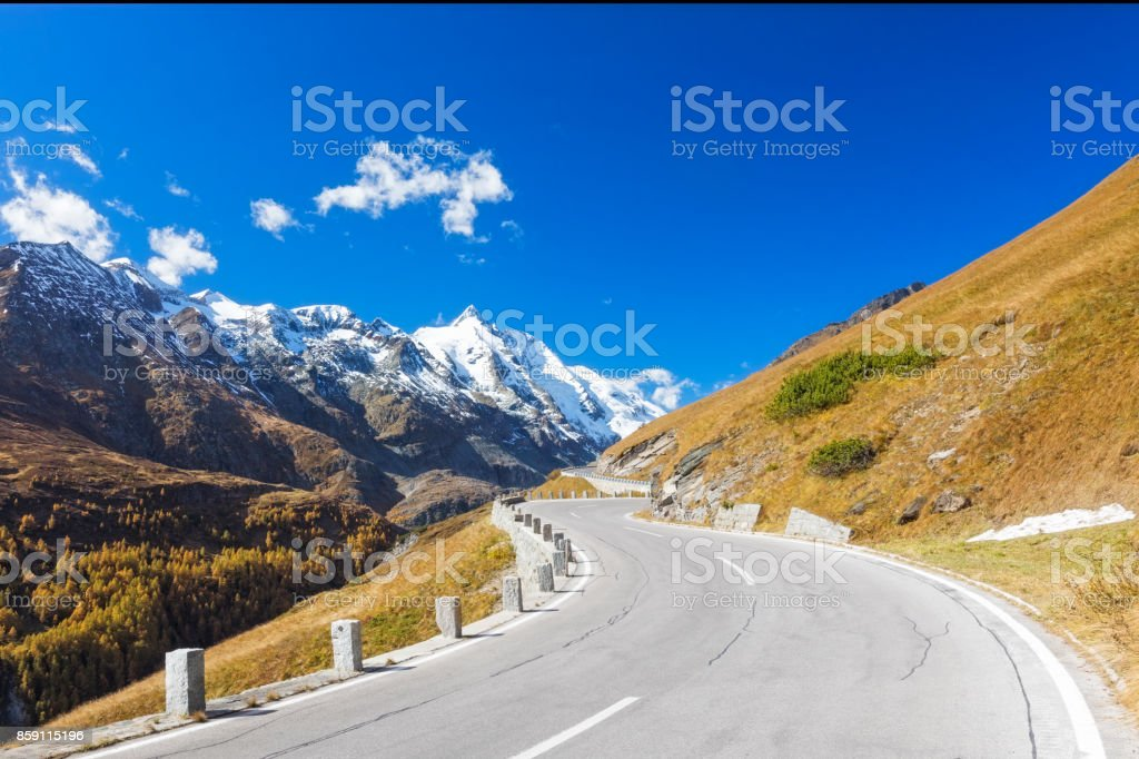 Grossglockner with high alpine road stock photo