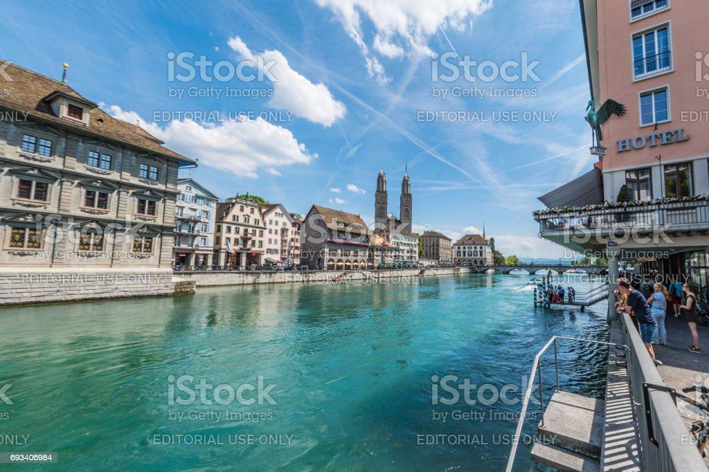 Grossmünster church and River Limmat in Zurich stock photo