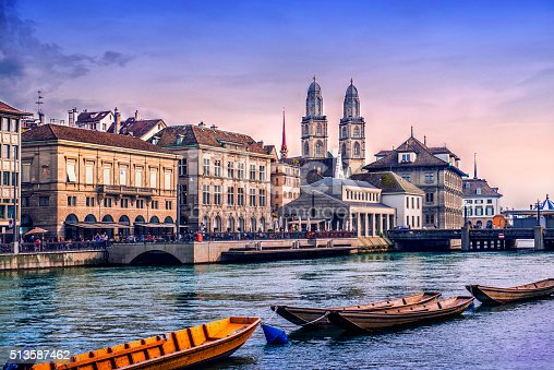 istock Grossmunster Cathedral with River Limmat in Zurich at Sunset 513587462