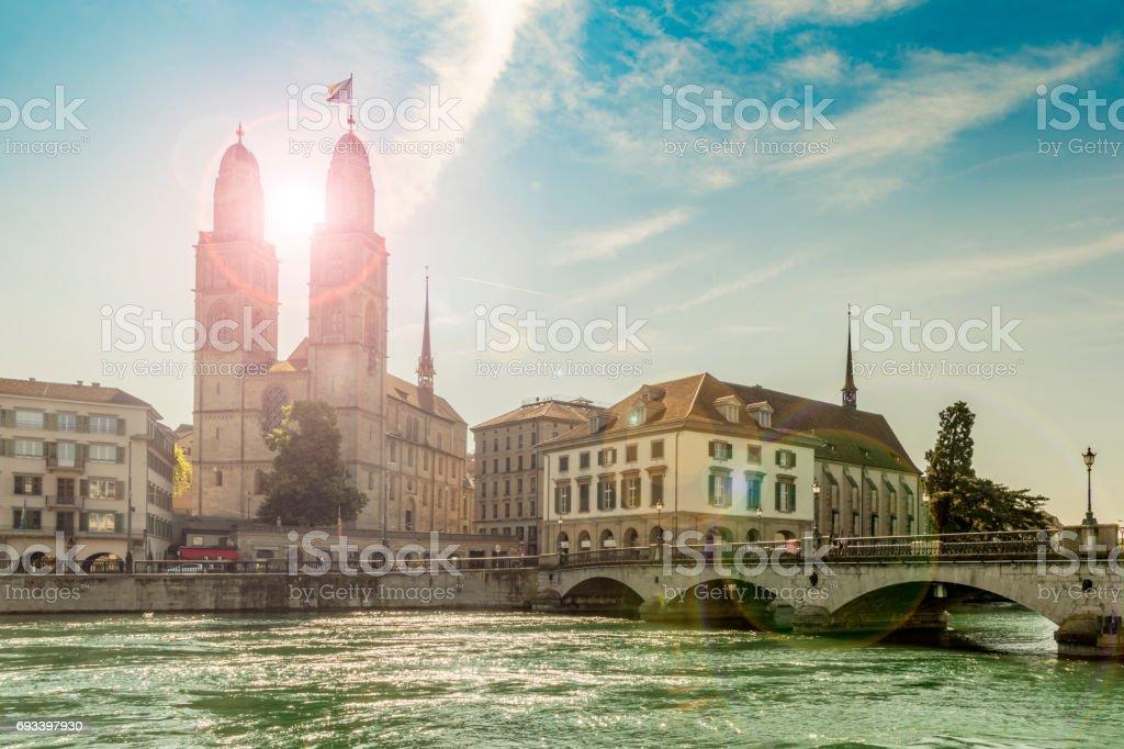Grossmunster Church and Bridge in Zurich stock photo