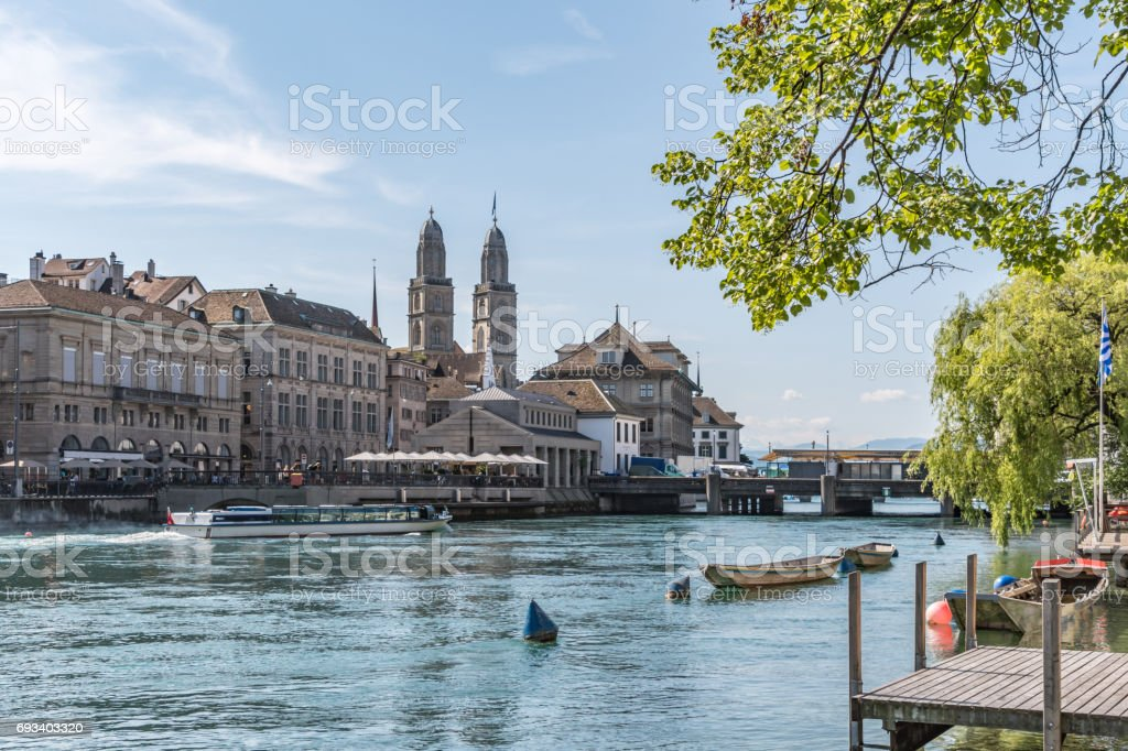 Grossmunster church view over river in Zurich stock photo