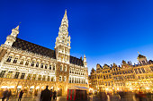 Grote Markt - The main square and Town hall of Brussels, Belgium, Europe.