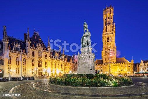 Bellfry, City Hall and Statue of Jan Breydel and Pieter De Coninck at Market Square in Bruges, Belgium.
