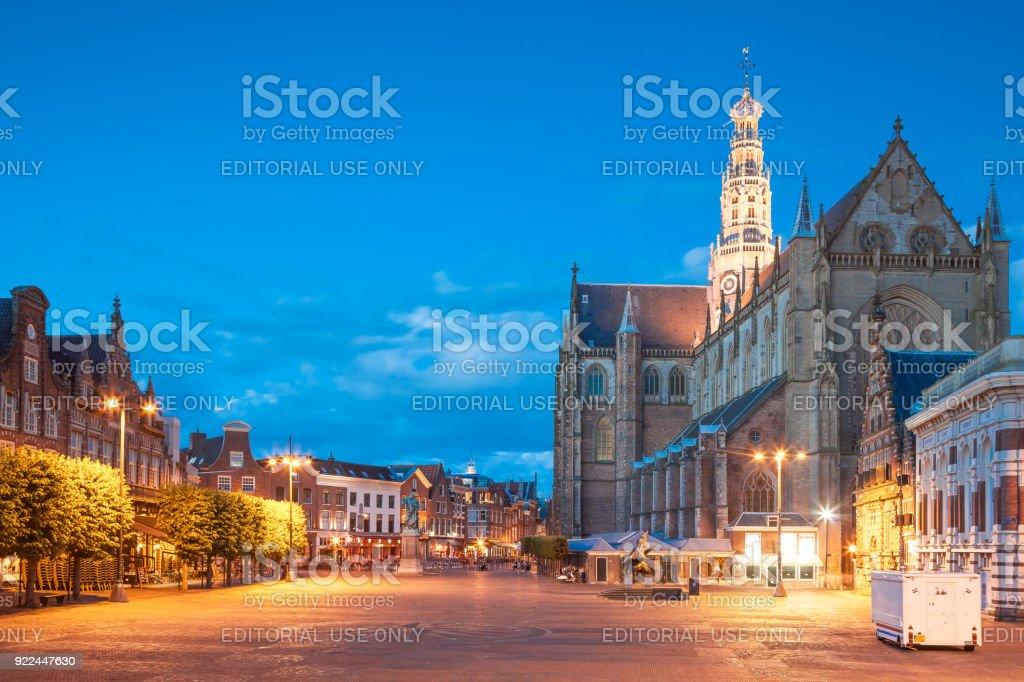 Grote Markt with Grote Kerk in background, Haarlem city stock photo