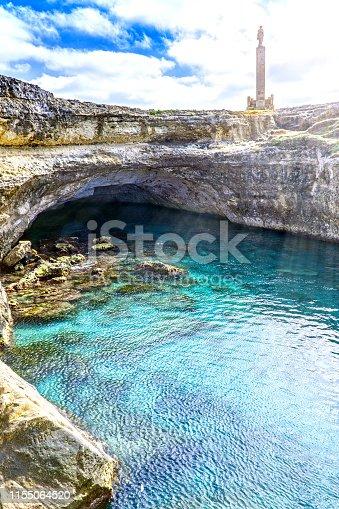 The famous Grotta della Poesia, province of Lecce, by Adriatic Sea in the Salento region of Puglia, southern Italy