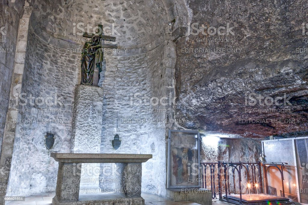 Grotto of the Invention of the Cross in Jerusalem. stock photo