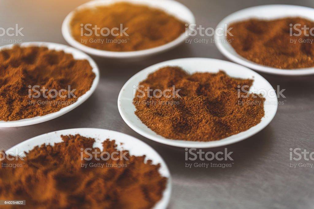 Ground beans of future invigorating drink stock photo