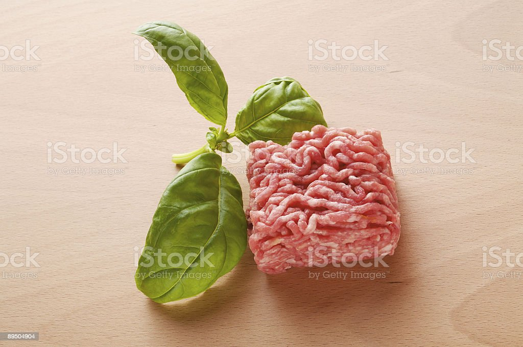Ground beef and basil royalty-free stock photo