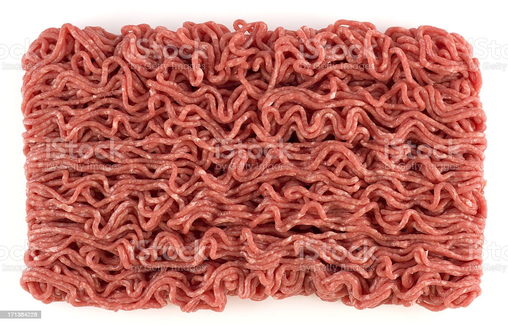 Ground beef isolated on a white background stock photo