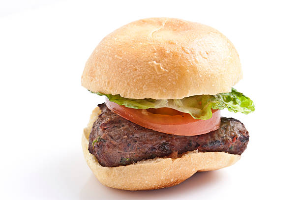 Ground beef mini burger Grilled Ground beef mini burger on white background slider burger stock pictures, royalty-free photos & images