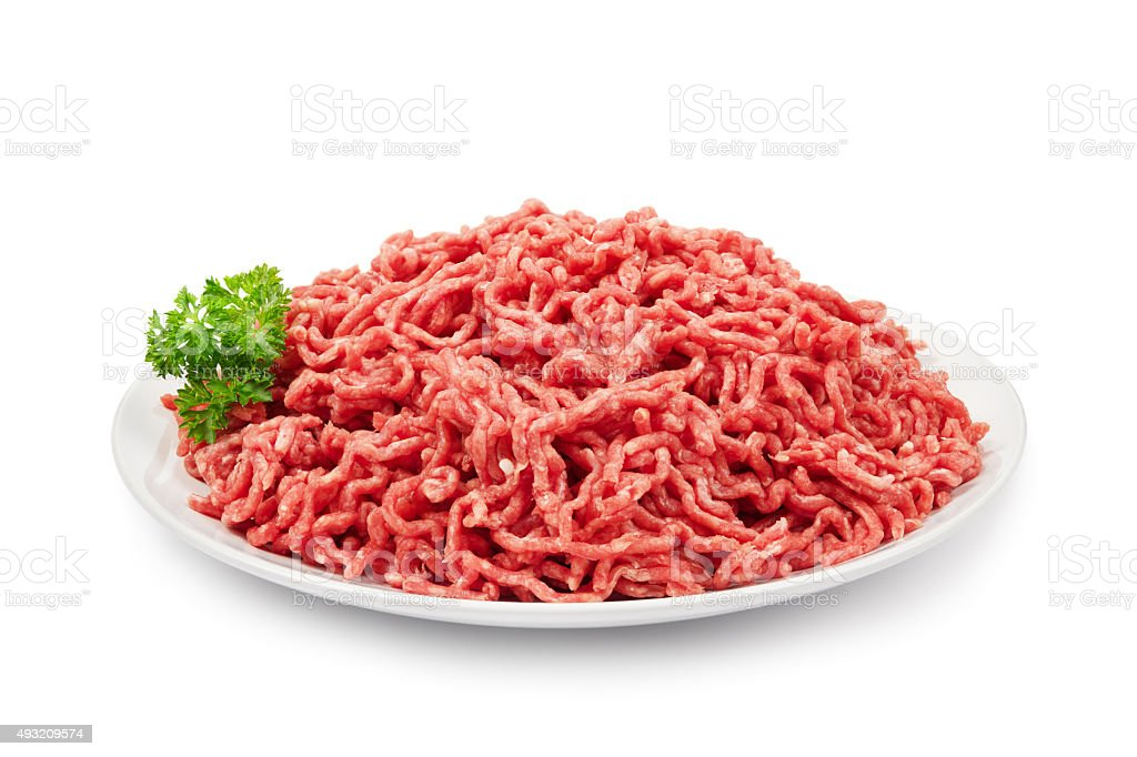 Ground beef on white stock photo