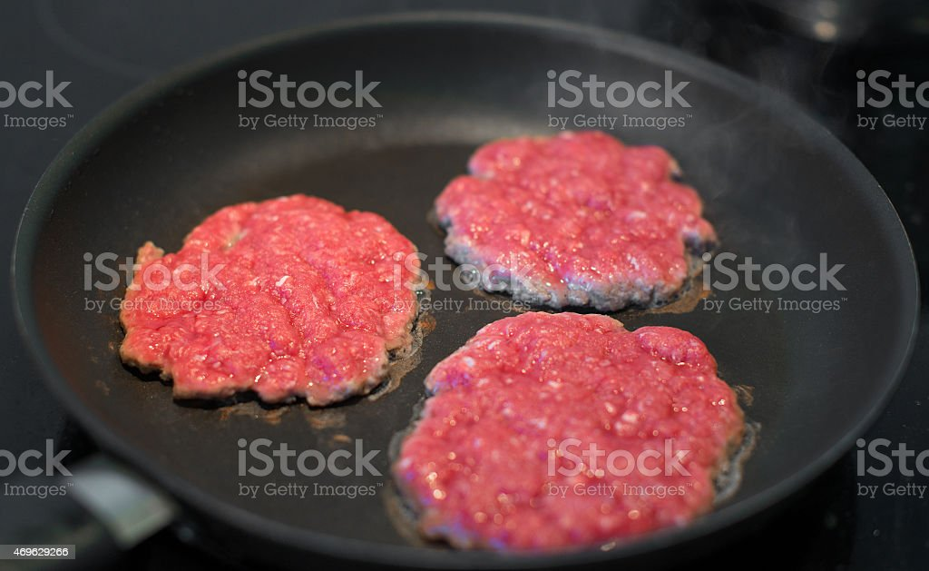 Ground Beef Patties In The Pan Stock Photo - Download Image