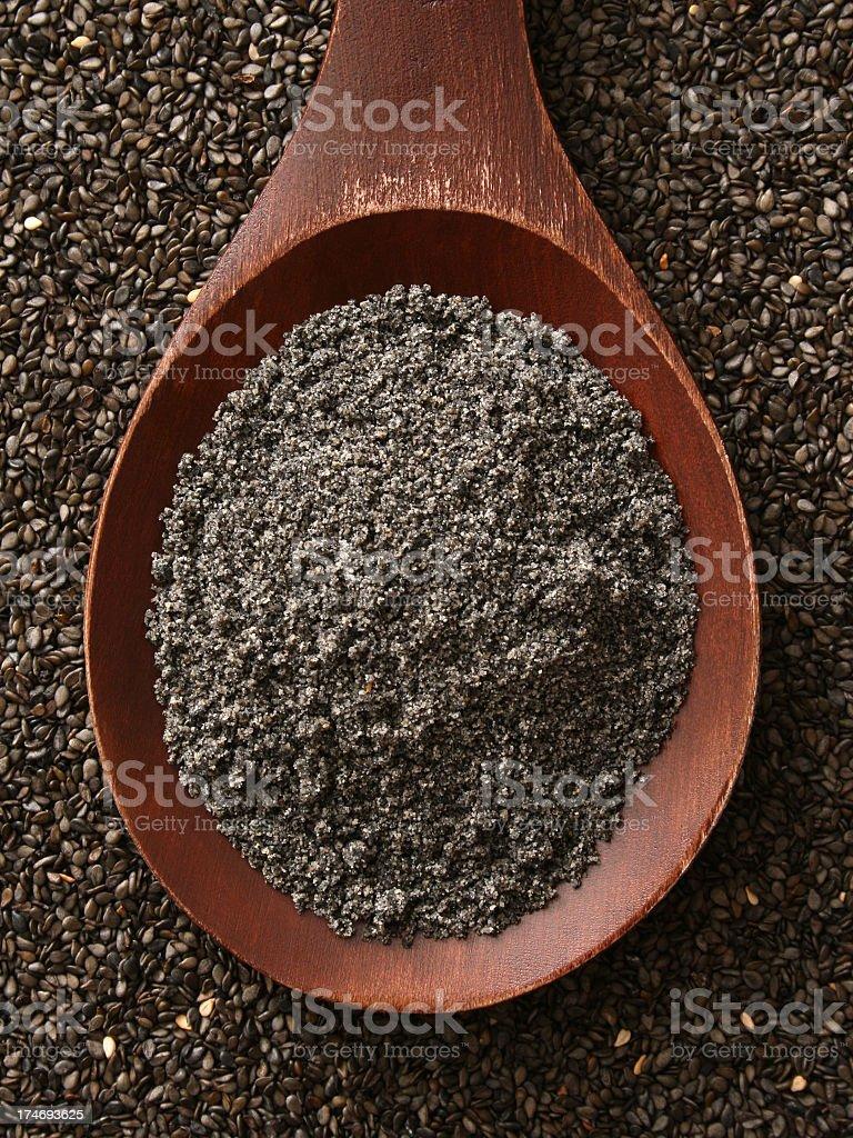Ground black sesame seeds royalty-free stock photo