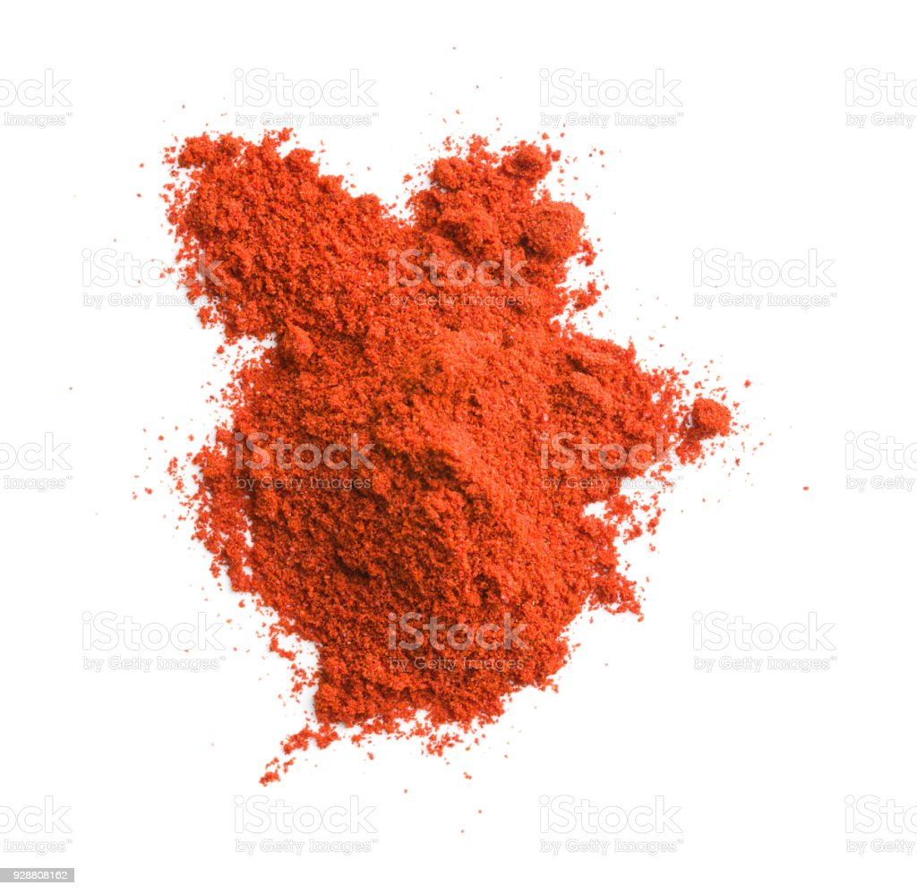 Ground chili pepper. Powdered pepperoni. stock photo