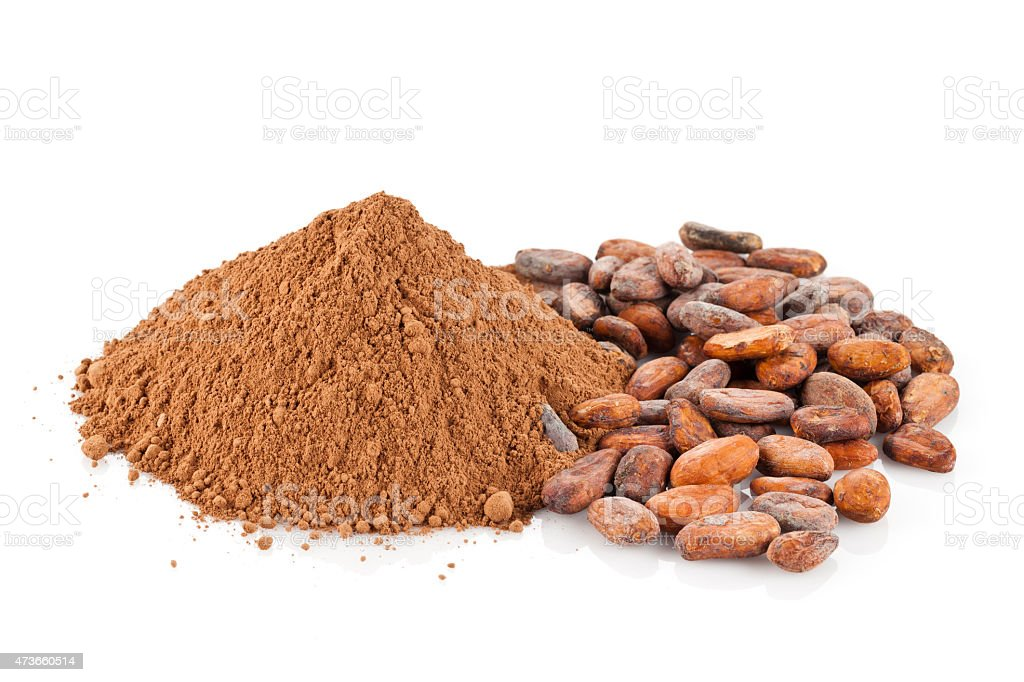ground cocoa and cocoa beans isolated on white background royaltyfree stock photo