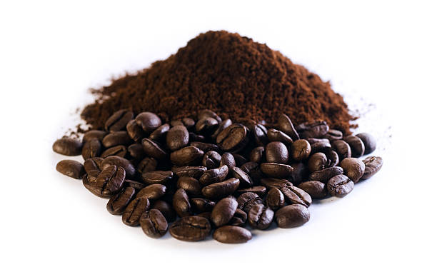 Ground Coffee and Beans stock photo
