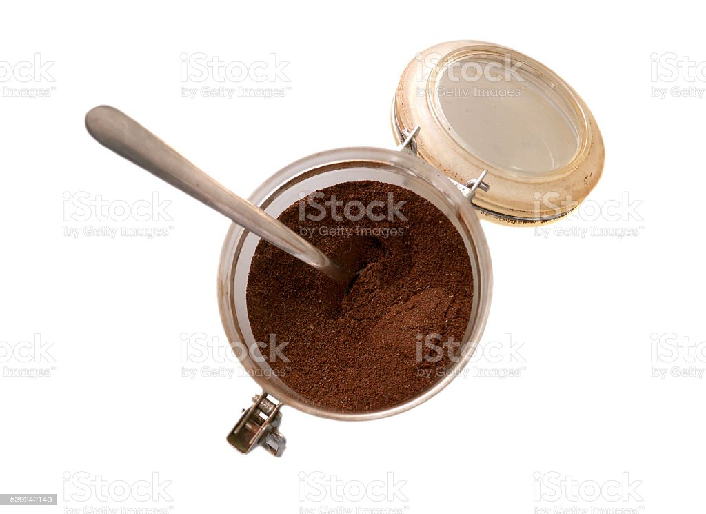 Ground coffee in a bowl royalty-free stock photo
