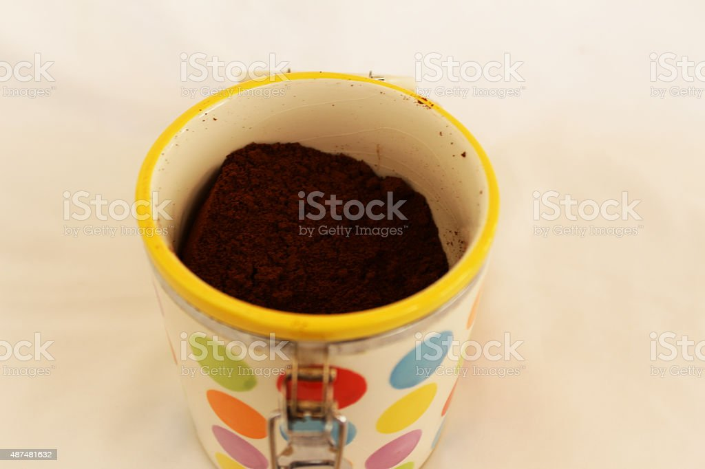 Ground coffee in bowl stock photo