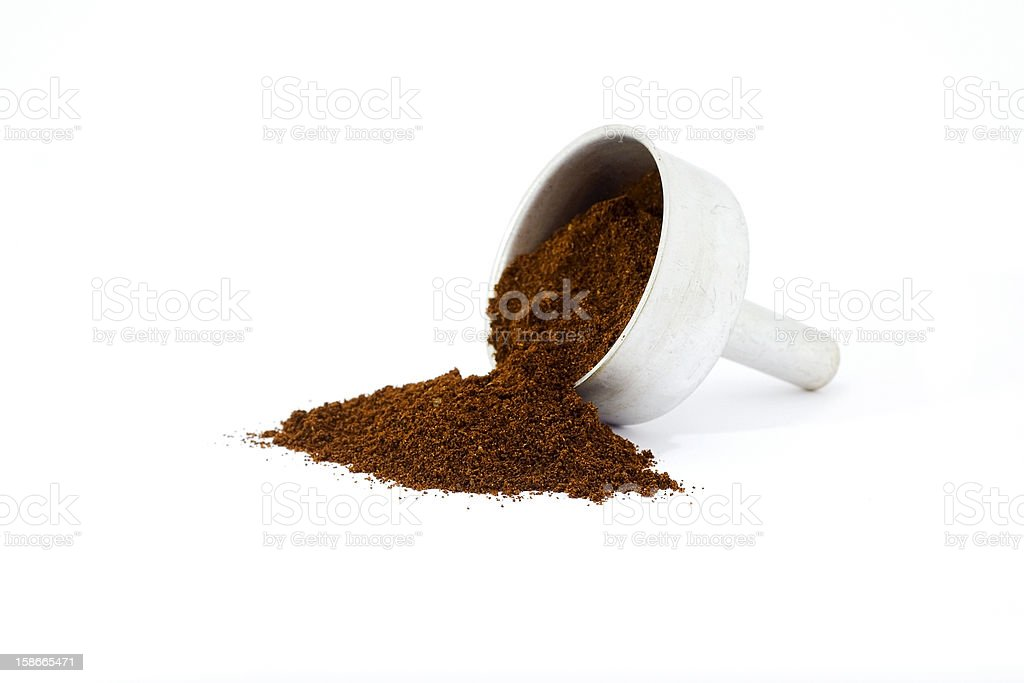 Ground coffee on white background royalty-free stock photo