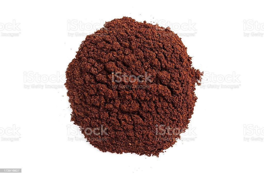 Ground coffee pile on white royalty-free stock photo