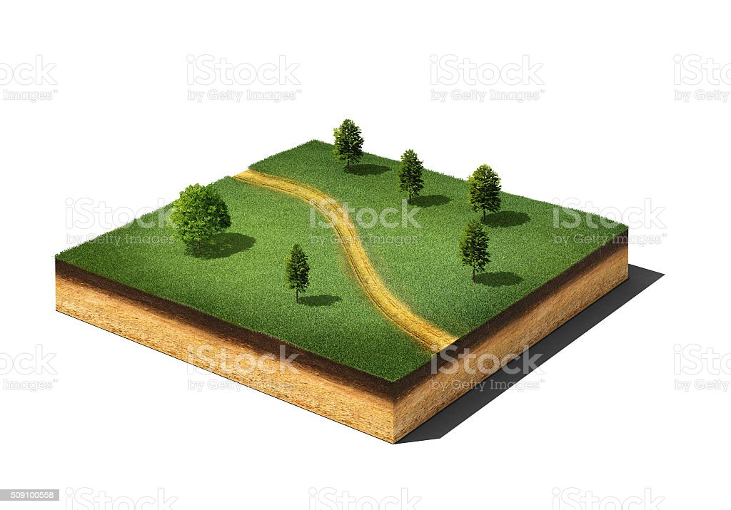ground cutaway with grass, trees and footpath isolated on white stock photo