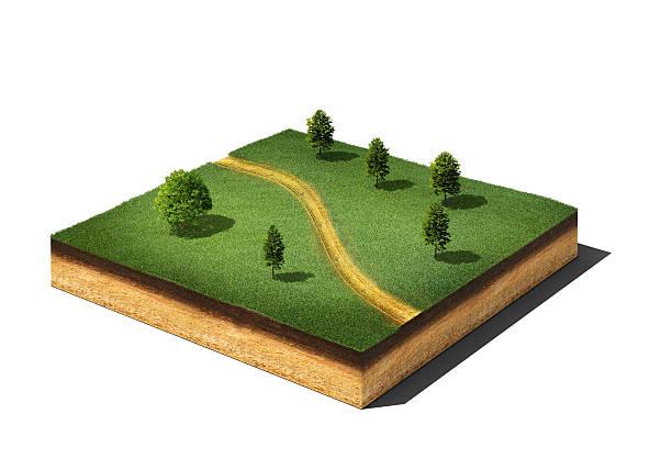 Tierra de unión (cutaway) con hierba, árboles y camino aislado sobre blanco - foto de stock