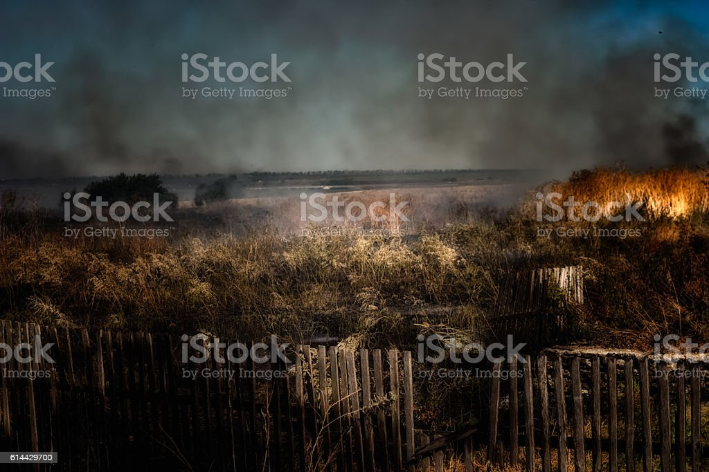 Ground fire - burning grass in the steppe stock photo