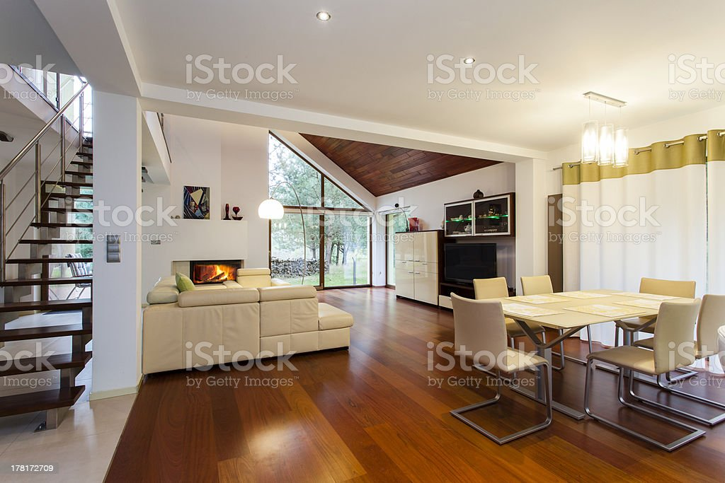 Ground floor of modern house royalty-free stock photo