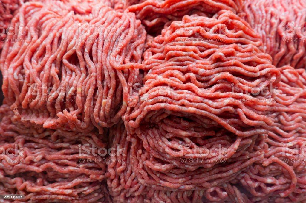 ground fresh bison, beef, angus meat stock photo