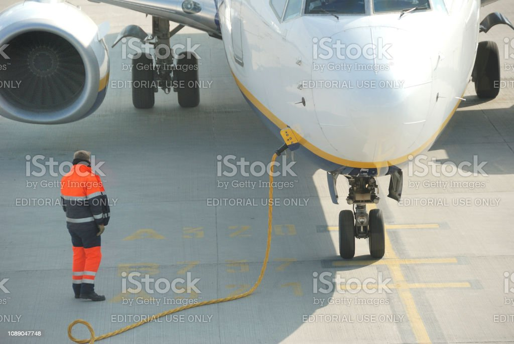 Ground handling of an air plane stock photo