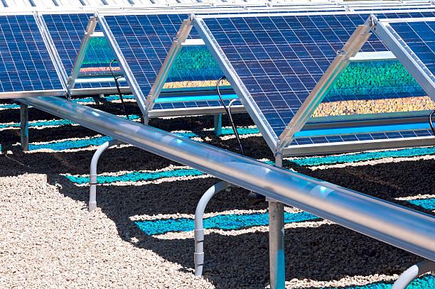 Ground Level Solar Panels Closeup stock photo