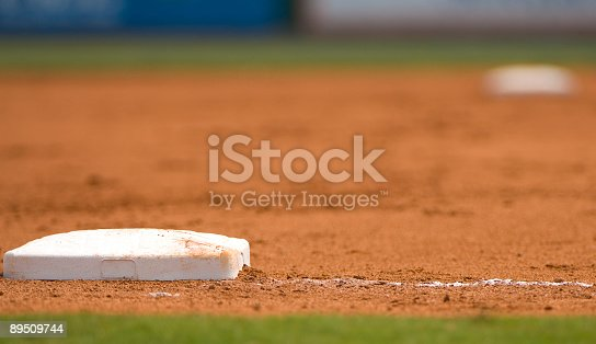 istock Ground level view of a base on the baseball field 89509744