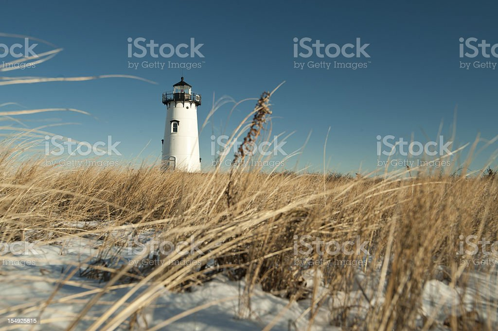 Ground level view of a lighthouse in Edgartown Cape Cod stock photo