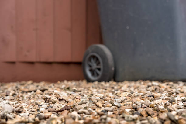 Ground level view of small sized gravel seen on a private driveway. stock photo