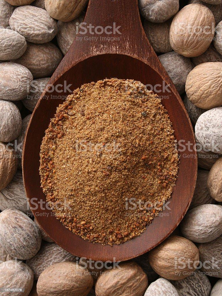 Ground nutmeg stock photo