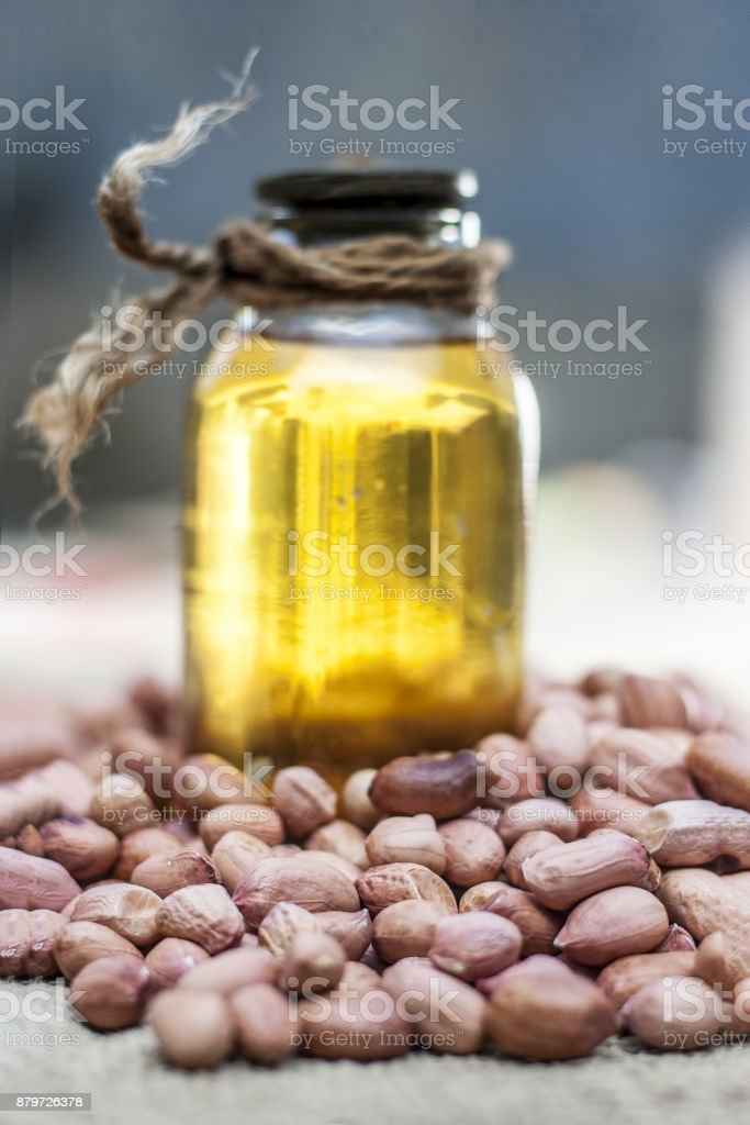 Ground nuts and its oil stock photo