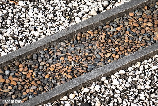 Ground of gravel rock seperated in tow color, using as outdoor garden decoration and walkway. Background and texture pattern photo.