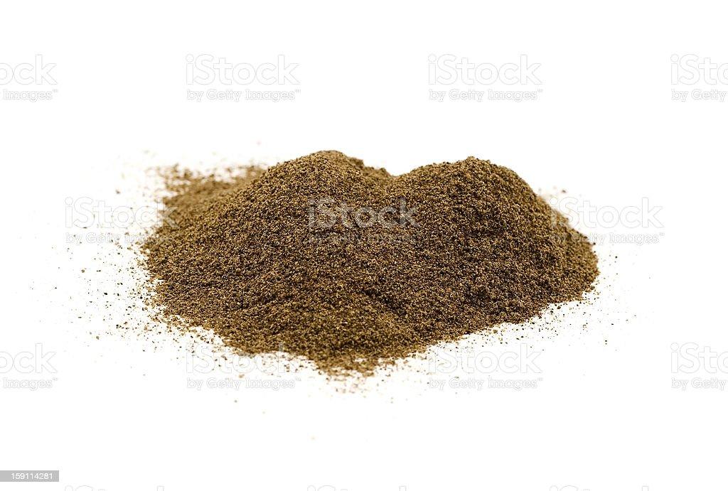 Ground pepper on white background stock photo