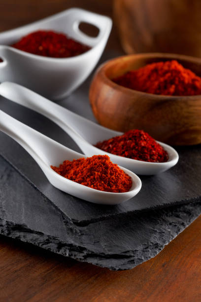 Ground Red Pepper and Flaked Chili Pepper stock photo