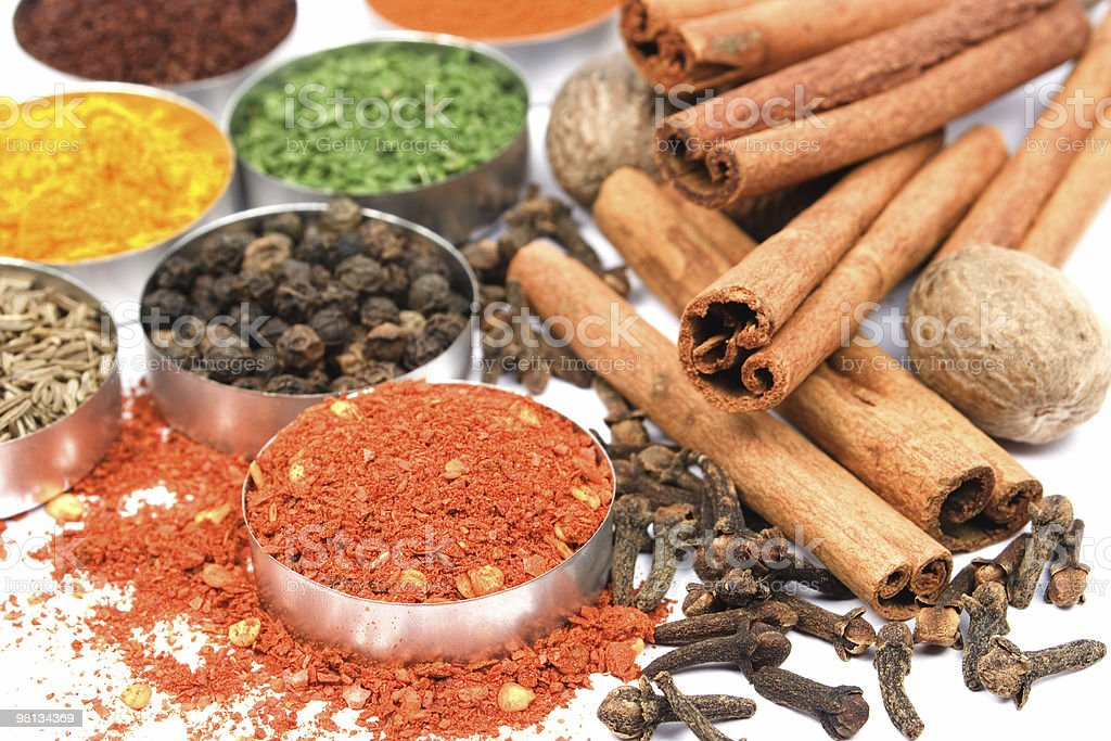 Ground red pepper and other indian spices royalty-free stock photo