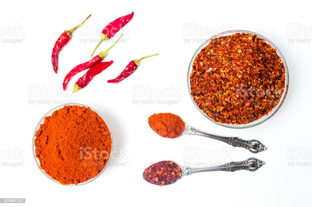 Ground red pepper in a bowl isolated stock photo