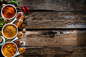 Ground scented spices shot from above on rustic wooden table. The ground turmeric, cinnamon and paprika are in white bowls and spoons arranged in a row at the left of an horizontal frame leaving useful copy space for text and/or logo at the right. High resolution 42Mp studio digital capture taken with Sony A7rII and Sony FE 90mm f2.8 macro G OSS lens