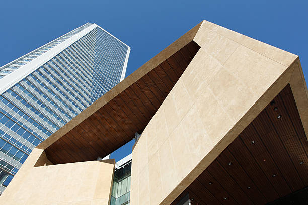 A ground view of a contemporary building in Charlotte stock photo