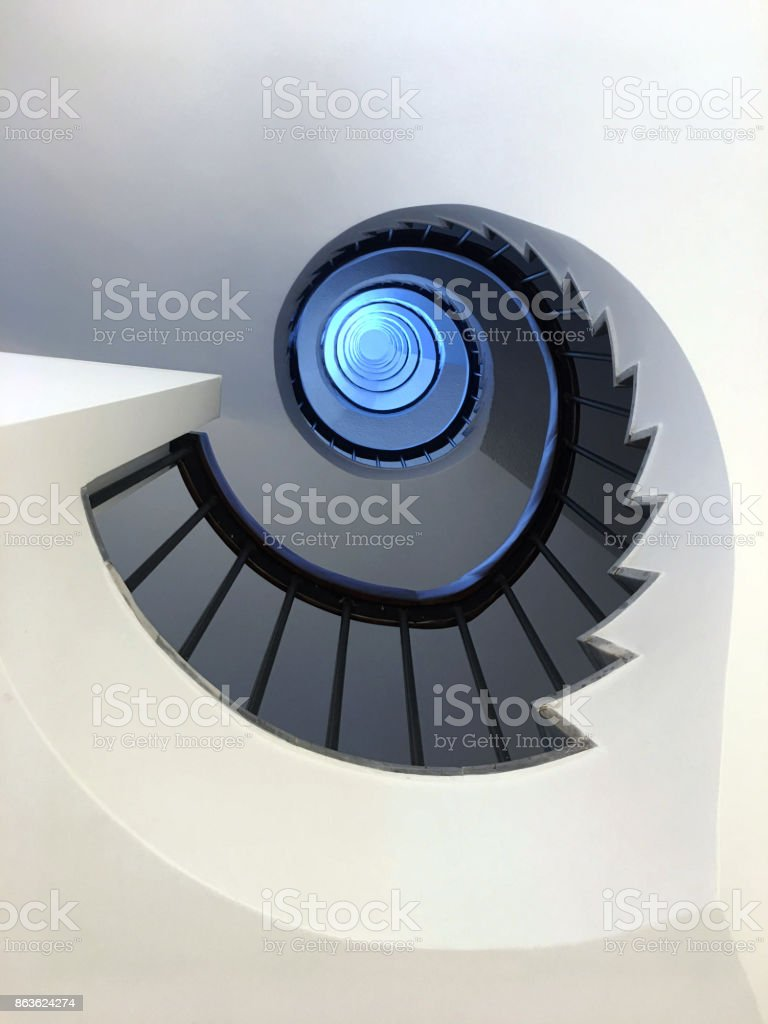 A ground view of a spiral staircase