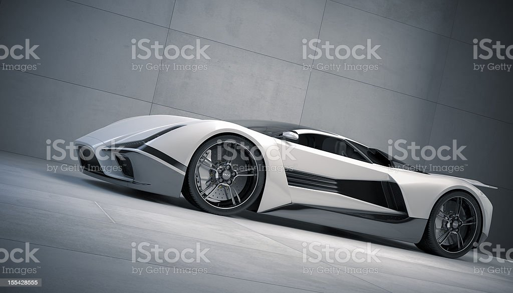 Ground view of a white and black sports car with sharp edges stock photo